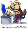 Cartoon man sitting at desk, typing on keyboard, looking at computer screen. - stock photo