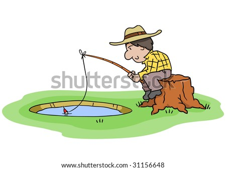 Cartoon man sitting on a stump and fishing in a small hole.