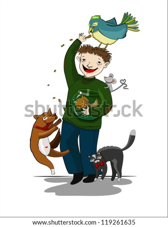 Cartoon man with a parrot, a dog, a cat, a mouse and a small fish in an aquarium - stock photo