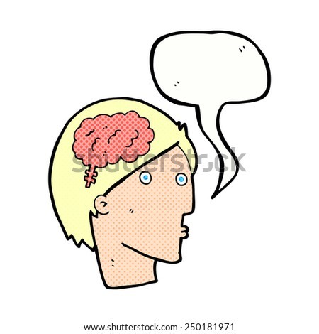 cartoon man with brain symbol with speech bubble - stock photo