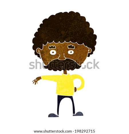 cartoon man with mustache making camp gesture - stock photo