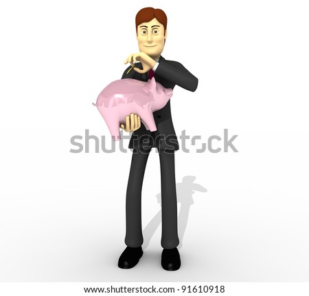 cartoon man with piggybank saving money - stock photo