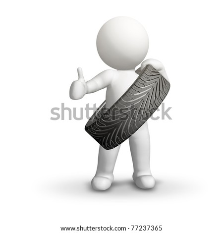 cartoon man with tire isolated, thumbs up