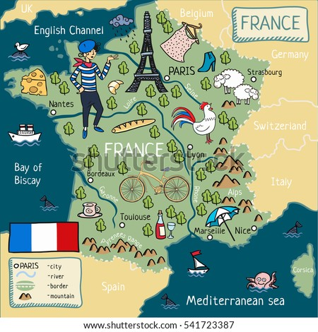 Cartoon Map France Stock Illustration 541723387 Shutterstock