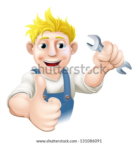 Cartoon mechanic or plumber holding a wrench or spanner and doing a thumbs up gesture - stock photo