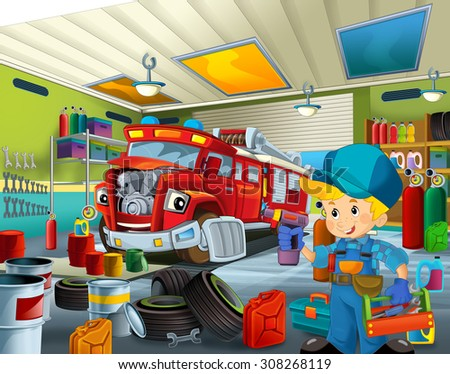 Cartoon mechanic workshop - illustration for the children - stock photo