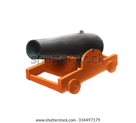 Cartoon medieval cannon icon isolated on white - stock photo
