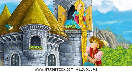 Cartoon medieval scene of a prince and princess - illustration for children - stock photo