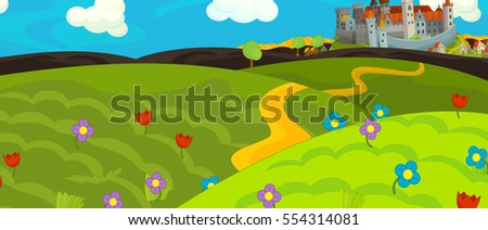 Cartoon medieval scene with castle on the hill - illustration for children