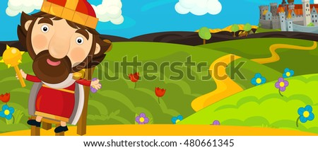 Cartoon medieval scene with king in front of a castle - illustration for children
