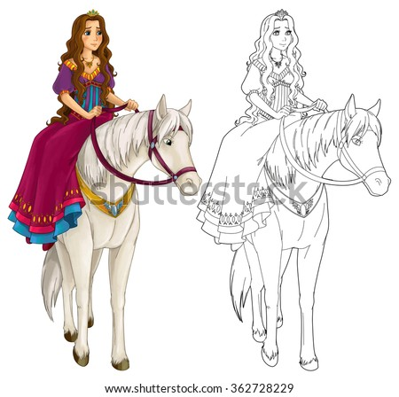 Cartoon medieval woman on a horse - illustration for the children - stock photo