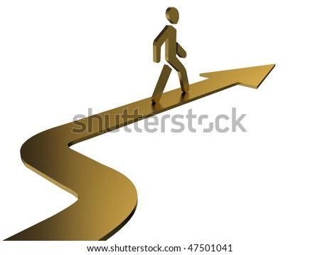 Cartoon men walking on arrow. Gold - stock photo