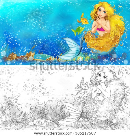 Cartoon mermaid in the sea - with coloring page - illustration for the children - stock photo