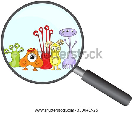 Cartoon microbes peek out from a magnifying lens. illustration - stock photo