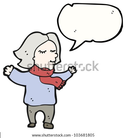 cartoon middle aged woman