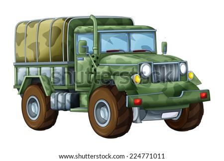Cartoon military truck - illustration for the children - stock photo