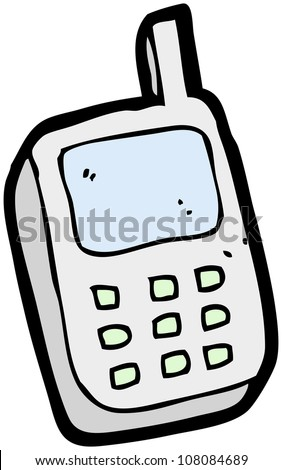 cartoon mobile phone - stock photo