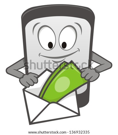 Cartoon mobile phone with money in an envelope. - stock photo