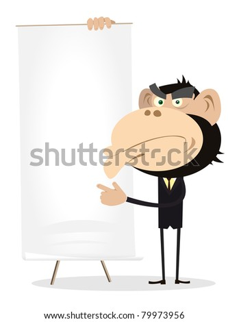 Cartoon Monkey Businessman Sign Or Banner/ Illustration of a funny ...