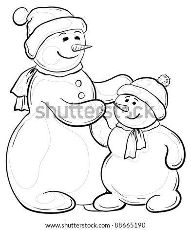 Cartoon, monochrome contours on white background: snowmens mother and son