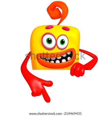 cartoon monster 3d - stock photo