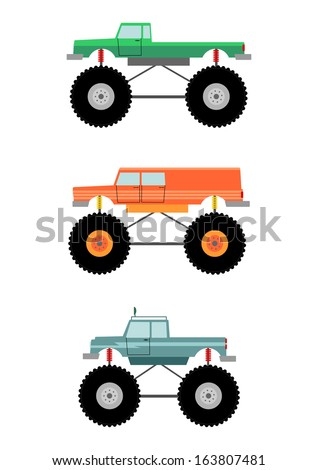 Cartoon monster truck silhouette on a white background. - stock photo