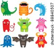 Cartoon monsters - set of 9 funny characters. Raster version. - stock vector