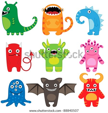 Cartoon monsters - set of 9 funny characters. Raster version. - stock photo