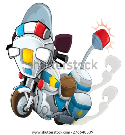 Cartoon motorcycle - police - caricature - illustration for the children - stock photo