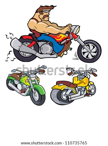 Cartoon Motorcycles fun vector illustration clip art - stock photo