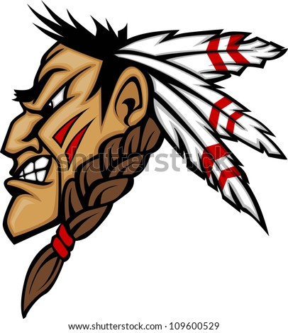 Cartoon Native American Indian Brave Mascot with Feathers and Face Paint - stock photo