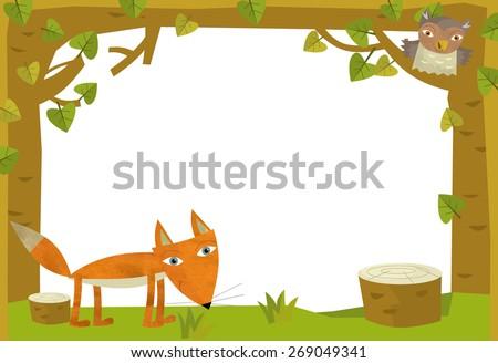 Cartoon nature frame  - horizontal - fox - illustration for the children - stock photo