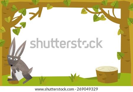 Cartoon nature frame  - horizontal - rabbit - illustration for the children - stock photo