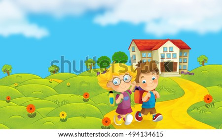 Cartoon nature scene with children on the trip to school - illustration for the children