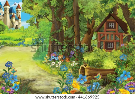 Cartoon nature scene with old house in the forest and castle in he background - illustration for the children