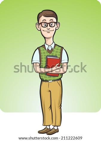 cartoon nerd man smiling - stock photo