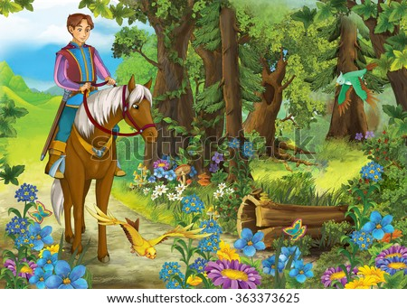 Cartoon nobleman riding on a white horse - prince or king - illustration for the children - stock photo