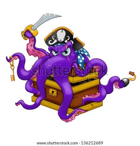 Cartoon octopus guarding his treasure. - stock photo