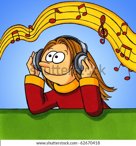 Cartoon of a girl listening to music