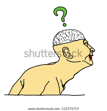 Cartoon of a man with an exposed skull showing his brain with a question mark hovering above it. - stock photo