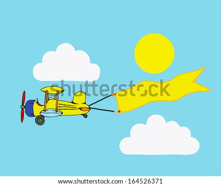 Cartoon of a retro propeller airplane flying through the blue sky carrying a blank advertisement banner with space for text. - stock photo