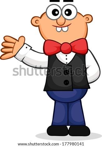 Cartoon of a waiter waving. - stock photo