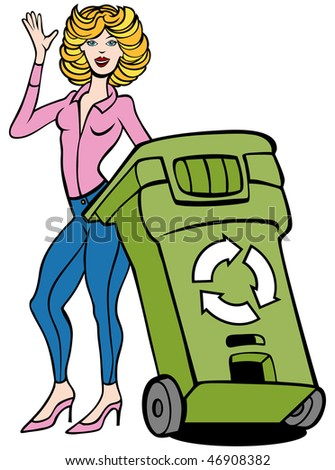 Cartoon of a young woman with a recycling trashcan.