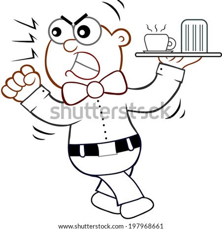 Cartoon of an angry waiter shaking his fist. - stock photo
