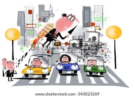 Cartoon of business executive using rocket backpack to cross crowded city street.  - stock photo
