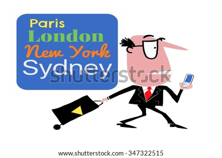 Cartoon of business man with suitcase walking past travel destination sign. - stock photo
