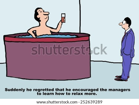 Cartoon of businessman boss, he wishes he not told the managers to relax more. - stock photo