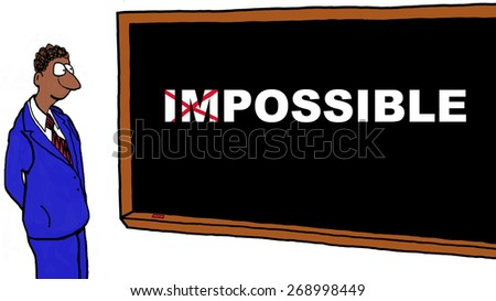 Cartoon of businessman turning the impossible into possible. - stock photo