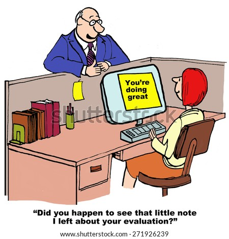 Cartoon of businesswoman, businessman boss has put a note on her computer, you're doing great. - stock photo
