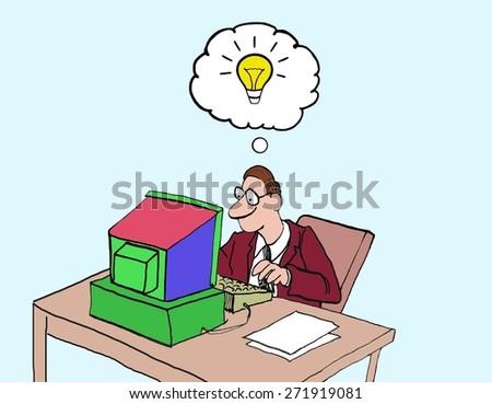 Cartoon of creative businessman, he has a new idea. - stock photo